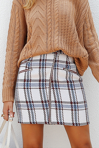 WanaDress Tweed Woolen Plaid Pattern Skirt