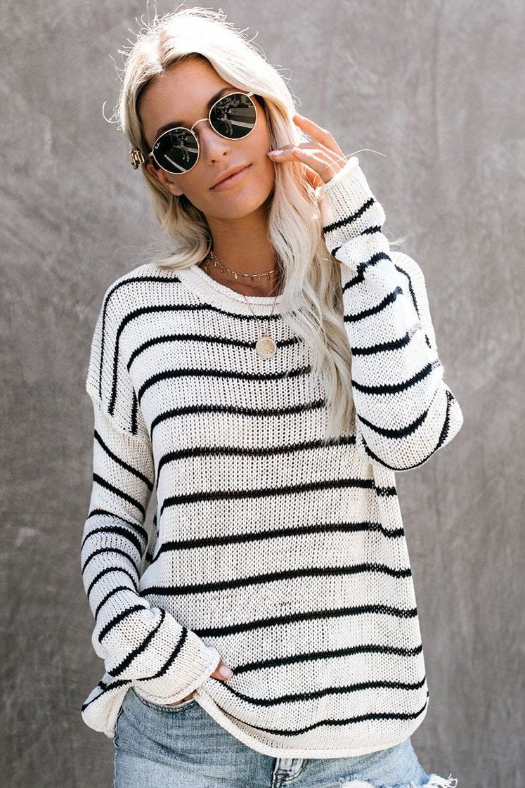 Wnadress Casual Round Neck Striped Long Sleeve Sweater
