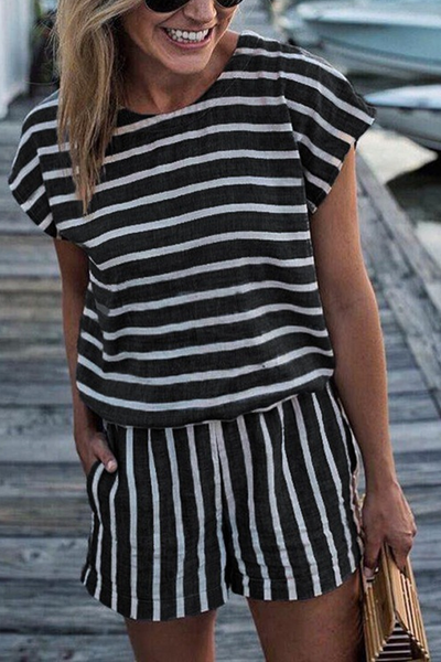 21e567ad247 WanaDress Casual Striped Drawstring One-piece Rompers