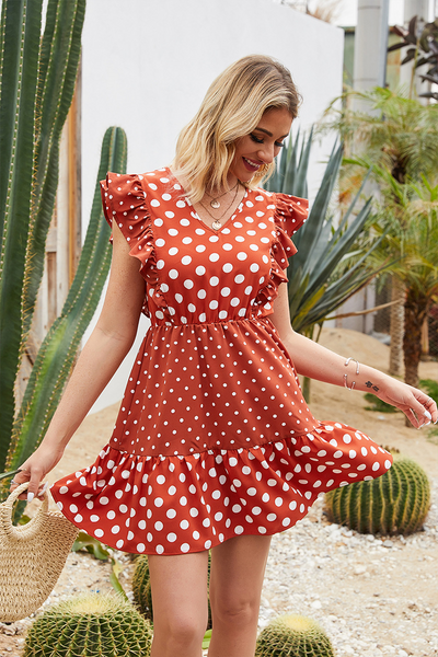 WanaDress Ruffle Hem Butterfly Sleeve Polka Dot Dress