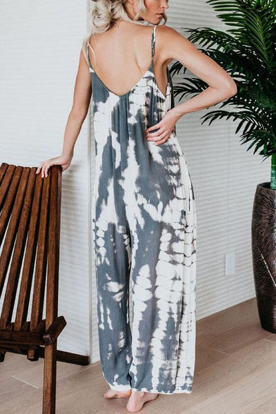WanaDress Tie Dyeing Ink Wide Leg Jumpsuits