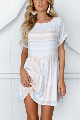 WanaDress Baby Blue Stripe Mini Dress