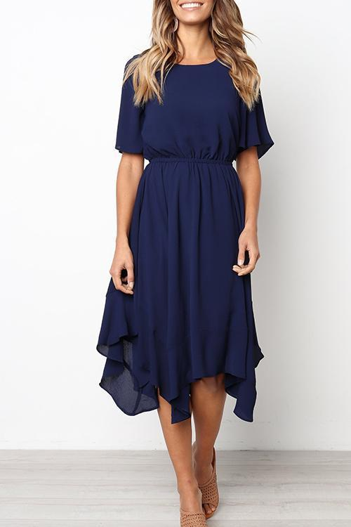WanaDress Round Neck Flared Sleeves Mid Calf Dress