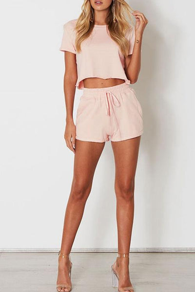 WanaDress Casual Solid Short Sleeve Pink O Neck Two-pieces