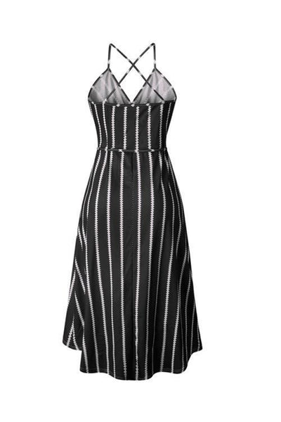 WanaDress V Neck Striped Midi Dress