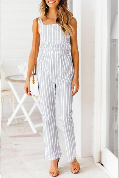 WanaDress Euramerican Striped Hollow-out Grey Jumpsuit