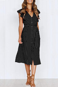 WanaDress Sweet Style Dots Printed Flounces Design Dress