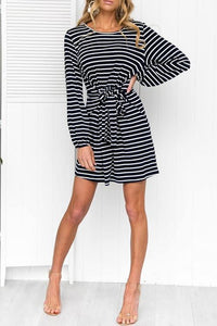 WanaDress Casual Striped Lace-up Mini Dress