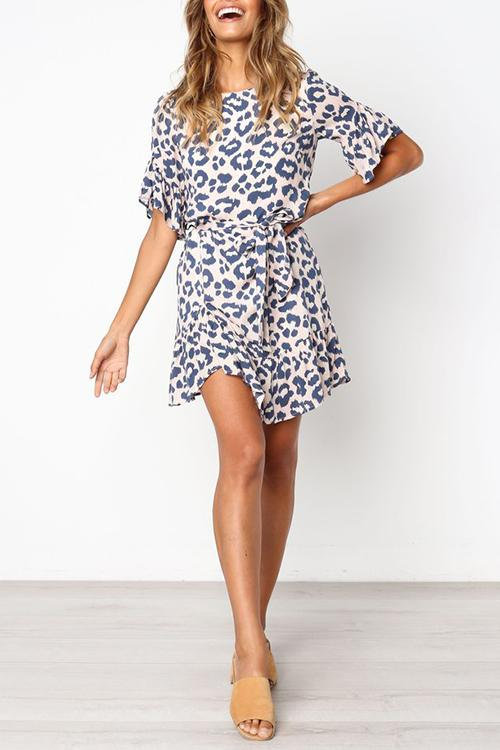 WanaDress Leopard Printed Flounce Design Mini Dress