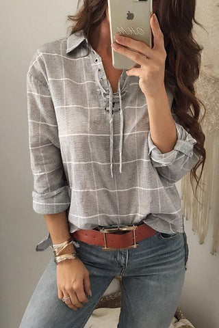 WanaDress Casual Grids Printed Blouses
