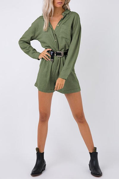 WanaDress Cool Loose Green Linen One-piece Rompers(Without Belt)