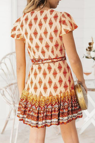 WanaDress Bohemian Printed Red Mini Dress