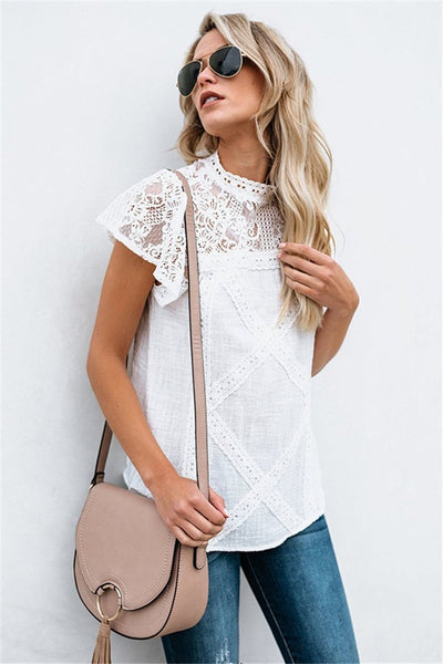 Wanadress High Neck Hollow Out Plain Blouses