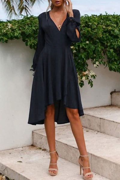 WanaDress Casual V Neck Tie High Waist Midi Dress