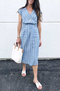 WanaDress Striped Cross-over Design Dress