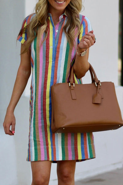 WanaDress Rainbow Striped Straight Dress