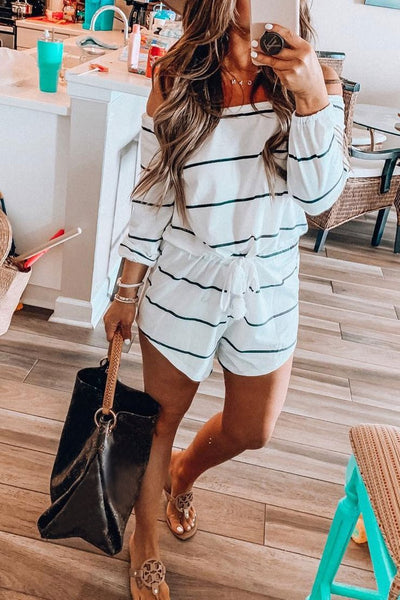 WanaDress Off The Shoulder Striped Romper