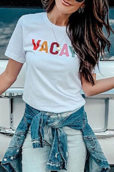 WanaDress Letter Printed White T-shirt