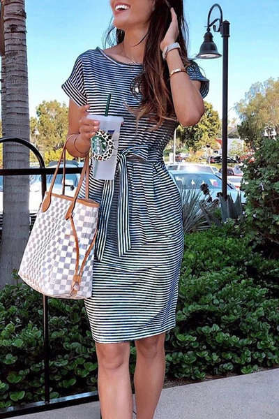 WanaDress Striped Knot Design Grey Midi Dress