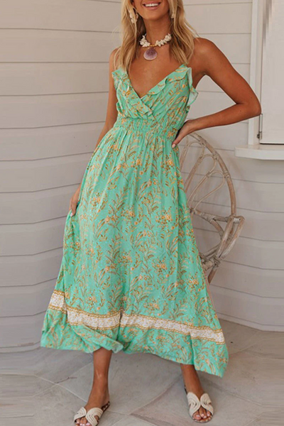 WanaDress Ruffled Floral Print Green Maxi Dress