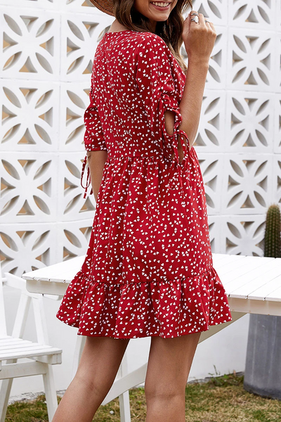 WanaDress Flounce Floral Print Red Mini Dress