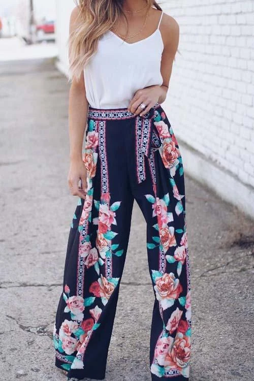 WanaDress Floral Print Wide Leg Pants