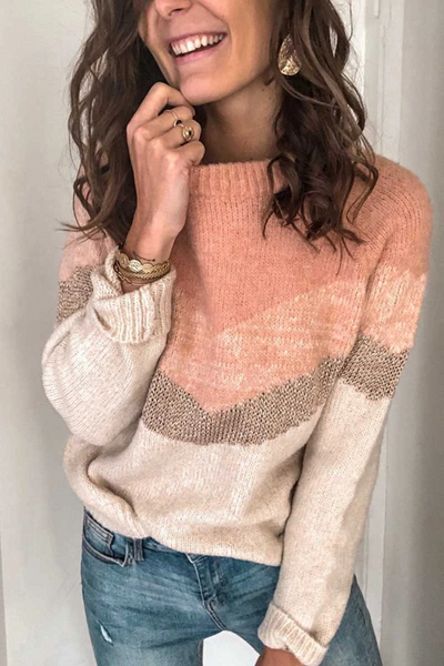 Wnadress Casual Multicolor Stitching Sweater