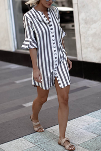 WanaDress Striped Vintage Button Up Shirt Dress