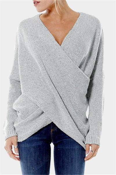 WanaDress Long Sleeve Surplice Neck Knitted Sweater