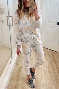 Wnadress Cool And Casual Peach Multi Tie Dye Two piece Set