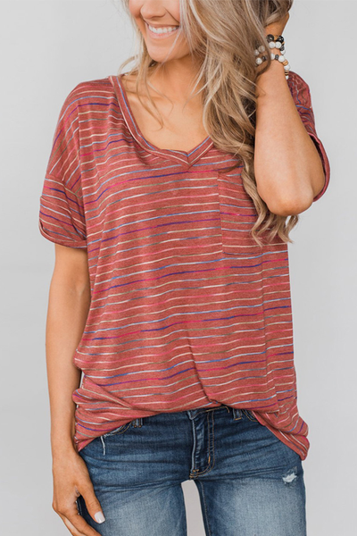 WanaDress V Neck Striped T-shirt