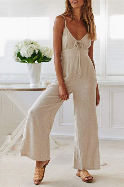 WanaDress Solid Color Shoulder Straps Wide-Legged Jumpsuits