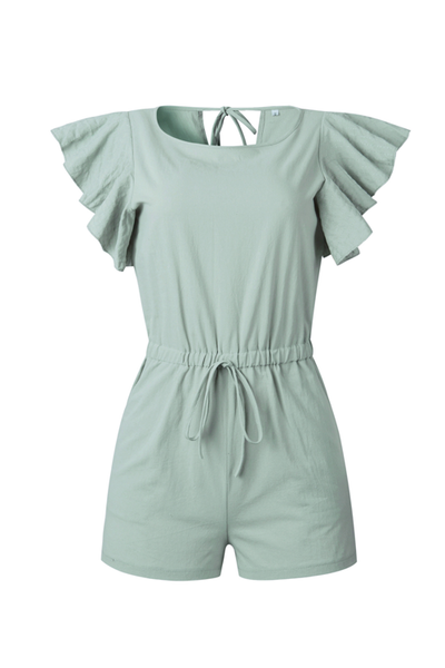 WanaDress Round Neck Ruffle Sleeve Waist Jumpsuit