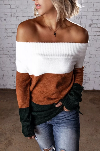 Wnadress Off Shoulder Colorblock Long Sleeve Sweater