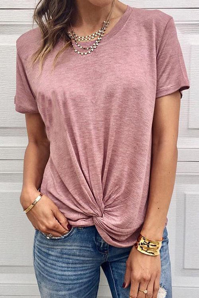 WanaDress Knotted Round Neck Short-Sleeved T-Shirt