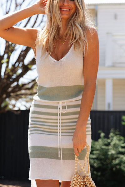 WanaDress Striped V-neck Backless Irregular Mini Dress