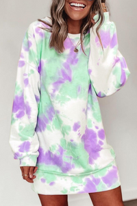 Wnadress Long sleeve Tie Dye Causal Mini Dress