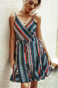 WanaDress V-neck Casual Rainbow Print Dress