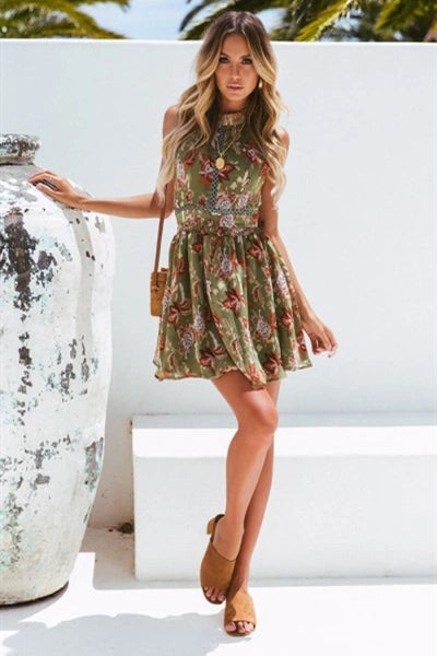 WanaDress Sleeveless Flower Skater Lace Mini Dress
