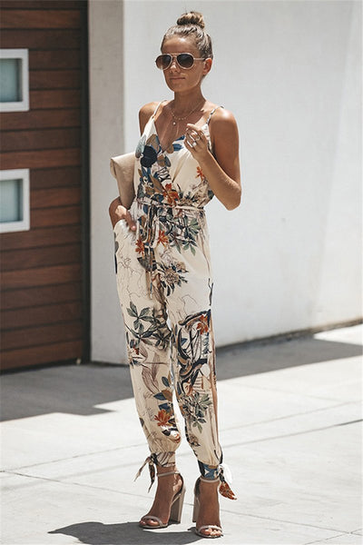 WanaDress Cami Printed Deep V Jumpsuits