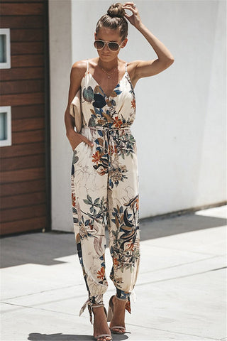 WanaDress Cami Printed Deep V Jumpsuit