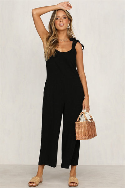 WanaDress Solid Casual V Neck Sleeveless Jumpsuits