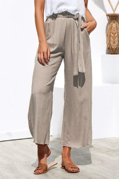 WanaDress Wide Leg Casual Trousers Pants with Belt