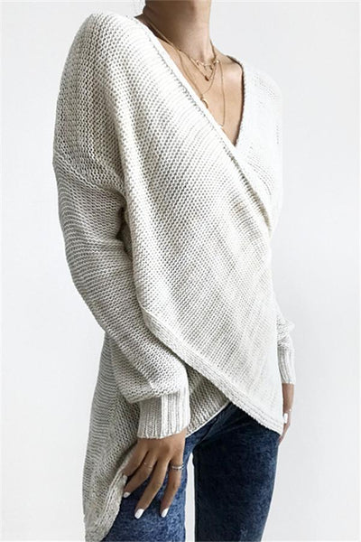 WanaDress Simple Casual V Neck Front Cross Weekend Sweater Top