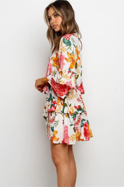 WanaDress Flounce Lace-Up Floral Print Mini Dress