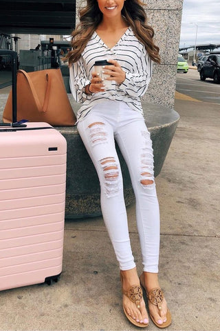WanaDress High Waist Broken Holes White Denim Pants