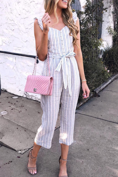 WanaDress Stripe Sleeveless Bandage Jumpsuit