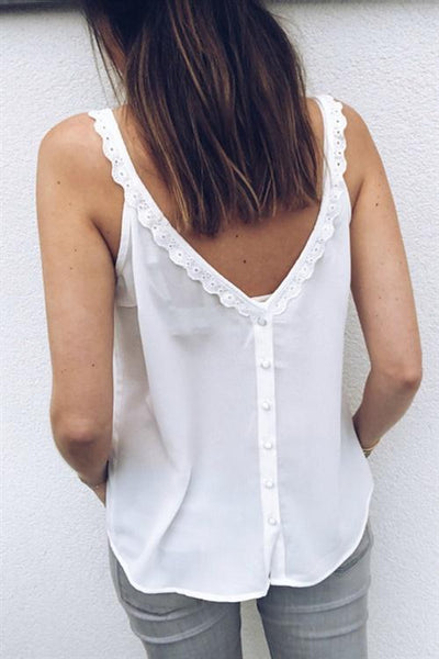 WanaDress Lace Hem Button Up Camisole