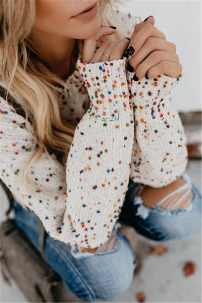Wnadress Colorful Wave Dot Sweater