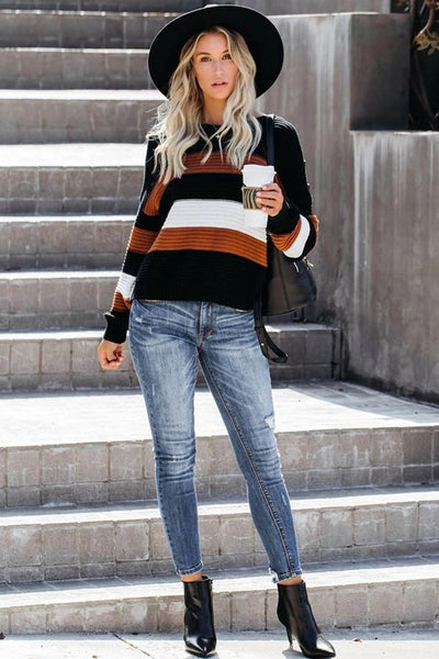 Wnadress Button Detailed Striped Knit Sweater